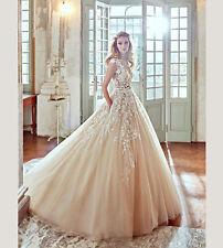 2019New champagne White Ivory Wedding Dress Bridal Gown Custom Size 8 10 12 14 +