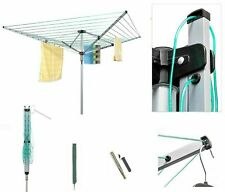 60M ROTARY AIRER OUTDOOR 4 ARM CLOTHES WASHING LINE LAUNDRY DRYER + COVER SPIKE