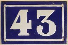 Old blue French house number 43 door gate plate plaque enamel metal sign c1950