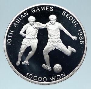 1986 SOUTH KOREA Seoul OLYMPIC GAMES Soccer Football Silver 10000 Wn Coin i83125