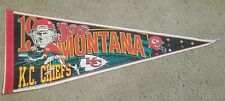 Vintage NFL Joe Montana 19 KC Kansas City Chiefs Felt Pennant