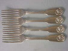 SET 4 1831 Georgian Silver Dessert Forks 204 grams Fiddle Thread Husk Theobalds