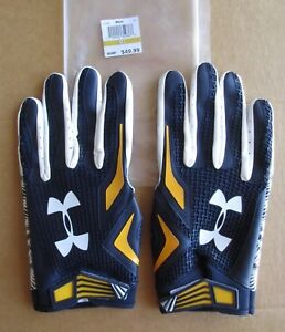 UNDER ARMOUR NFL EQUIPMENT SWARM FOOTBALL GLOVES NAVY/YELLOW/WHITE SIZE 4XLARGE