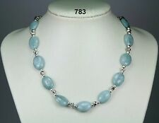 "Pale aquamarine oval bead stone necklace, clear/silver crystals, balls 19"" + 2"