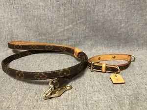 Authentic Louis Vuitton Baxter Dog Leash MM M58056 & Dog Collar PM M58072 Set