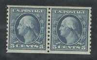 US Sc 496 5c Washington Coil Pair VF MNH