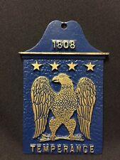 Vintage Blue Metal 1808 Temperance Patriotic Bald Eagle in Gold Sign