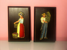 Vintage Hand Sculpted & Painted Ceramic Figures Over Wood Gold Trimmed Exc.Cond