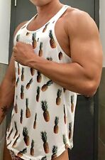 Preowned Mens Muscle Fitted White JJ Malibu Sleeveless String Tank Top M NR