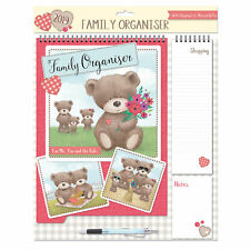 2019 Family Organiser Calendar - Shopping List, Memo Pad and Pen - Teddy Flowers