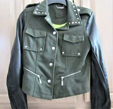 MILITARY STYLE  FABULOUS  JACKET STUDS ZIPPERS,FAUX LEATHER SLEEVES