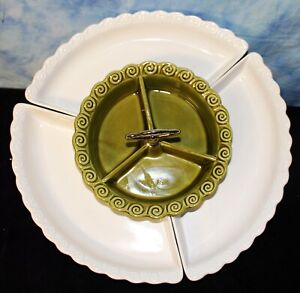 Mid Century Lazy Susan Relish Tray by California Pottery #267 Green & White EUC