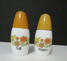 "Vintage Corelle  ""Indian Summer' Gemco Milk Glass Salt & Pepper Shakers Set"