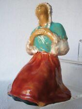 Femme terre cuite Poterie vernissée Paysanne à genou signée en creux dessous