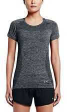 Nike Womens Dri-FIT Knit Short-Sleeve Running Top Size Small Color Grey-Black