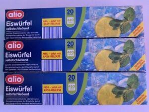 3xAlio Eiswürfelbeutel à 20 Beutel insgesamt für 1440 Eiswürfel mit Easy Release