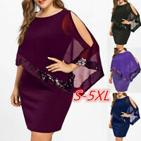 Women Plus Size Cold Shoulder Overlay Asymmetric Chiffon Strapless Sequins Dress