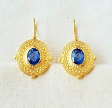 Incredibly Crafted Blue Sapphire Vermeil 14K Gold Over Sterling Silver Earring