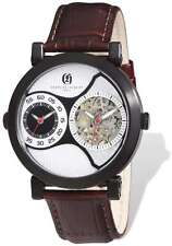 Mens Charles Hubert IP Black Leather Band 46mm Dual Time Watch