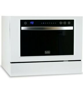 Black and Decker 6 Place Setting Countertop Portable Dishwasher, White