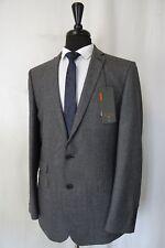 Men's New Ben Sherman Grey Check Kings Slim Fit Suit 40L W36 L33 AA1567