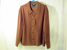 WOMEN`S 3X BRIGGS LONG SLEEVE BLOUSE SHIRT JACKET BROWN STYLE 2-606-B24 BUTTONS