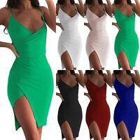 Womens Bodycon Sleeveless Side Slit V Neck Wrap Clubwear Evening Midi Slip Dress