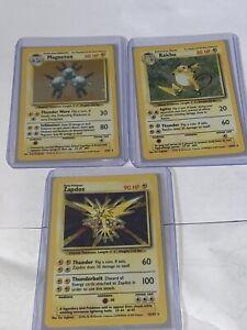 Vtg Pokemon ZAPDOS MAGNETON RAICHU Rare Holographic Card Base Set  Holo