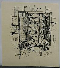 Dessin Original Encre Claude SCHURR (1921-2014) La Prison (1960)  SHU16