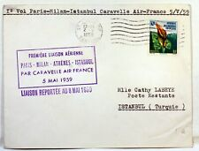 1959 CARAVELLE PARIS MILAN ATHENES ISTAMBUL PAR AIR FRANCE Premier vol AC123