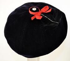 vintage 50's small black velvet beanie beret hat red grosgrain bow rhinestone