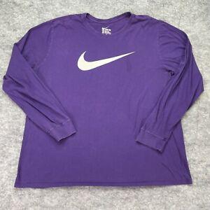 Nike Crew Neck Shirt Men 2XL XXL Purple Long Sleeve Swoosh Logo Cotton Athletic