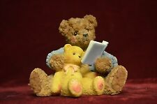 """Cherished Teddies"" papa bear reading to baby once upon a time very nice 4"" high"