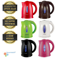 Ovente 1.7L Cordless Electric Glass Tea Kettle Water Boiller BPA Free (KP72)