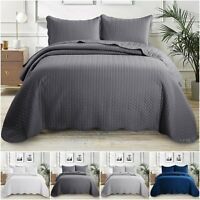 3 Piece Quilted Bedspread Bedroom Luxury Bed Throw Bedding Set With Pillow Cases
