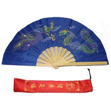 New Tai Chi Martial Arts Kung Fu Bamboo Fan Blue Dance Pratice Folding Permance