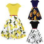 Retro Women Cap Sleeve Floral Print Swing Pinup Housewife Rockabilly Party Dress