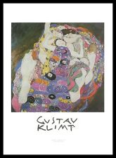 Gustav Klimt Jungfrau Poster Bild Kunstdruck mit Alu Rahmen in schwarz 70x50cm