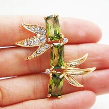 Unique Bamboo Men's Art Nouveau Little Brooch Pin Green Rhinestone Crystal