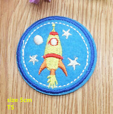 Space Rocket Yellow Moon Stars Background  Blue  Iron On Patch UK Badge Bag