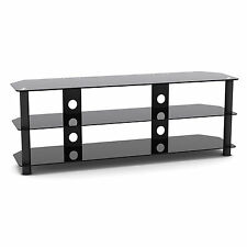 G-VO Black Glass 3 Shelf TV Stand for LED LCD PLASMA HD 3D SMART TV'S Upto 60""