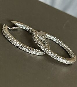 18ct White Gold Diamond Earrings 1ct Large Hoops Inside Out 8.5g