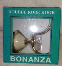 New Bonanza Double Robe Hook Genuine Porcelain With Polished Solid Brass Nib