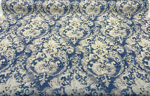 Vervain Poggio Blue Linen Drapery Upholstery Fabric By the Yard