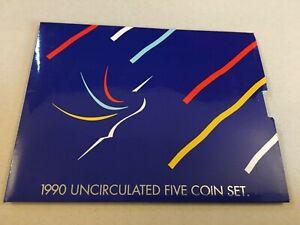 RARE NEW ZEALAND 1990 UNCIRCULATED FIVE COIN SET