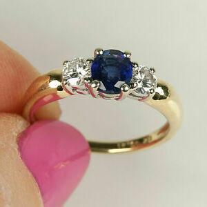 1.50Ct Round Cut Blue Sapphire Three Stone Engagement Ring 14K Yellow Gold Over