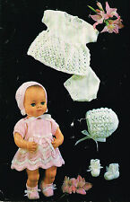 Dolls clothes knitting pattern for 12 inch doll. Laminated copy. (V Doll 71)