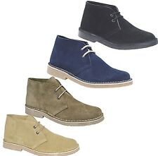 MENS CLASSIC SUEDE LEATHER DESERT ANKLE BOOTS  BLACK,NAVY,BROWN,TAUPE SIZES 6-11