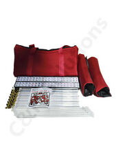 4 Clear Pushers  And Rack American Mah Jong Set Burgundy Red Carrying Bag