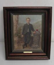 "Victorian Eastlake Deep Shadow Box Frame Hand Painted Portrait Boy, fits 8"" x 10"